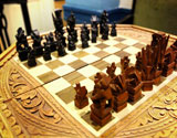 Playing chess in the living room